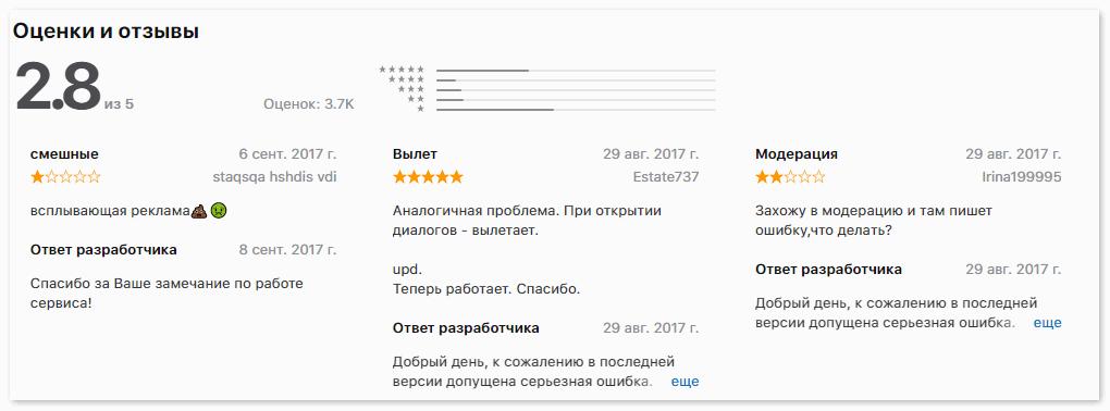Отзывы о приложении на iPhone