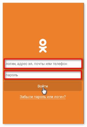 Ввести данные для входа через Одноклассники